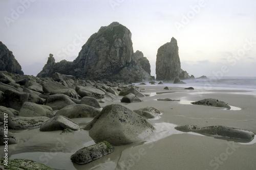 Fotobehang Strand Remote empty rocky beach