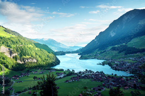 Aerial view on Lungernsee lake, Switzerland, Europe