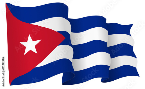 Cuba Flag Waving Vector Illustration