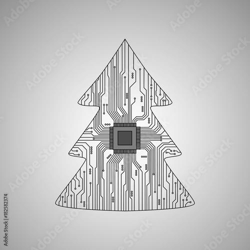 Electronic Christmas tree. Vector Christmas tree.