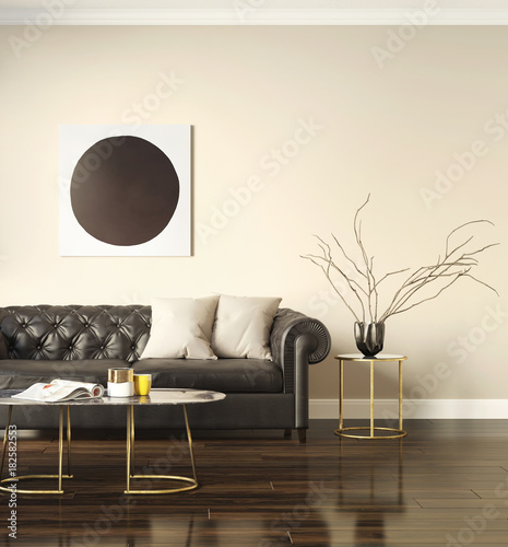 Classic elegant luxury interior with a black leather sofa 2
