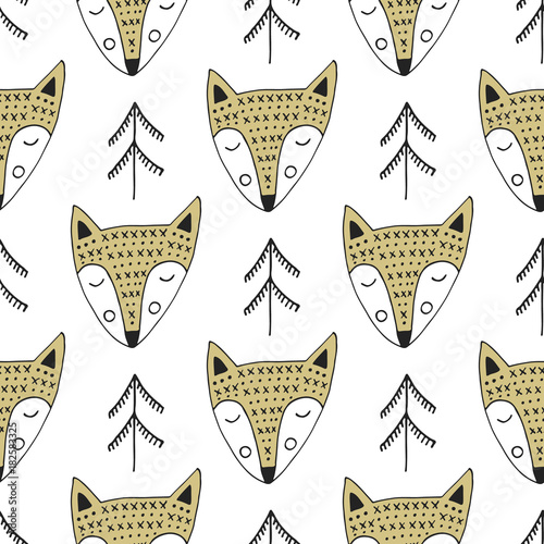 Cute hand drawn nursery seamless pattern with fox in scandinavian style. Vector illustration - 182583325