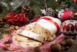 Traditional Christmas dresden cake stollen with candied fruits and almonds. Christmas New Year decoration. - 182586761