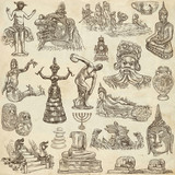 native and old art - hand drawn collection on old paper - 182586935