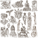 native and old art - hand drawn collection on white, isolated - 182588364