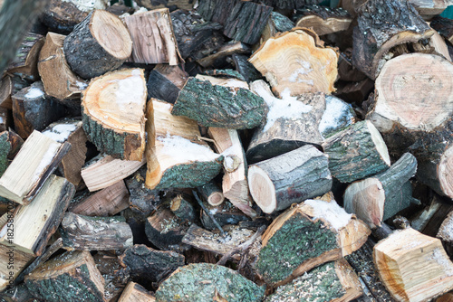 Deurstickers Brandhout textuur The texture of firewood. A pile of firewood.