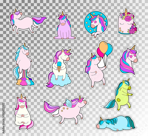 Foto op Aluminium Retro sign Colored doodle set of cute unicorn. Vector sketch illustration of unicorn emotions sticker.