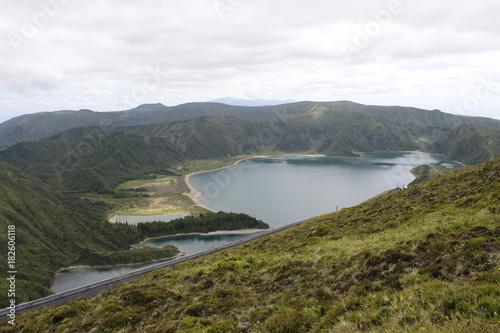 Tuinposter Wit Lagoa do Fogo, Açores