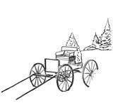 Hand Drawndrawn Carriage In The Mountains Landscape Sketch Wall Sticker
