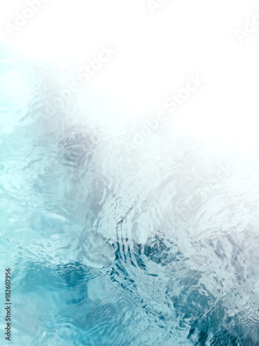Painterly, tranquil, and meditative blue green flowing water background fade to white