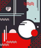 Composition of geometric shapes with circles and lines with use of fashionable colors on a black background. Abstraction. Rich red, pink, celadon. The vertical arrangement. Vector
