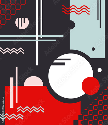 Fotobehang Abstractie Composition of geometric shapes with circles and lines with use of fashionable colors on a black background. Abstraction. Rich red, pink, celadon. The vertical arrangement. Vector