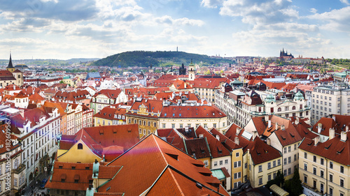 Staande foto Praag Prague rooftops panorama, Czech Republic landmark