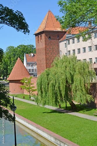 View of watchtowers in the sunny day. Braniewo, Poland