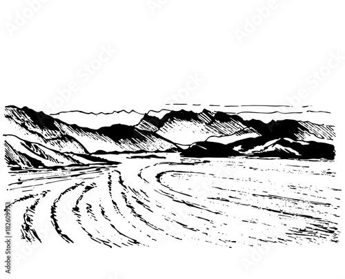 Fotobehang Boerderij Landscape sketch drawing. Fields, trees and mountains