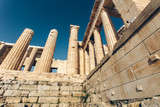 Ruins of the ancient greek historical monument - Parthenon viewed from the outside. Parthenon is a part of Athenian Acropolis in Athenes, Greece. - 182619118