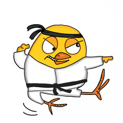 cute chick kungfu mascot