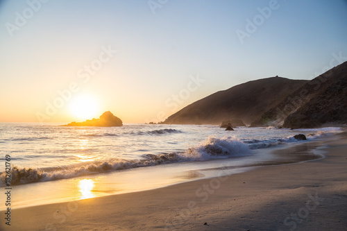 Large waves at Pfeiffer State Park, Big Sur, California at sunset Poster