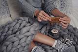 Woman preparing Christmas presents close up. Cozy, comfy lifestyle. - 182623947