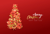 Christmas greeting card. Creative composition in shape Xmas tree, with elegant stars and baubles balls, boxes gift. - 182623980