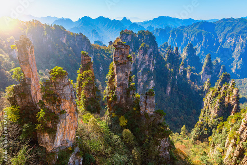 Colorful cliffs in Zhangjiajie Forest Park.
