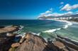 Quadro Scenic panoramic view of Ipanema Beach from the rocks at Arpoador with Rio de Janeiro skyline Brazil
