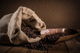 Coffee beans on grunge background - 182630102