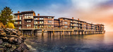 Panorama with stilt houses in West Seattle neighborhood at sunset`` - 182634960