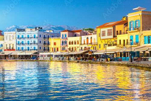 View of the old port of Chania, Crete, Greece.