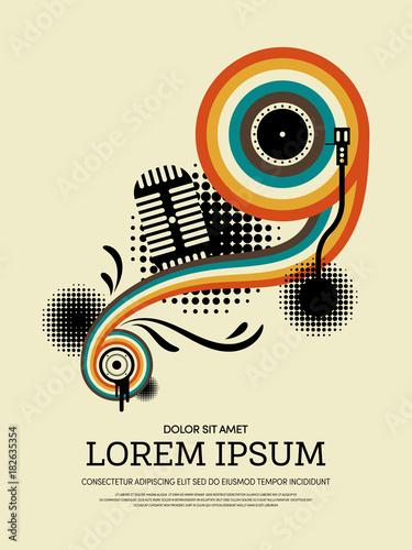 Plexiglas Vintage Poster Music retro vintage abstract poster background