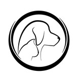 Cat and Dog in circular frame symbol - 182637350