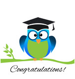 Owl graduate with cap, cartoon symbol