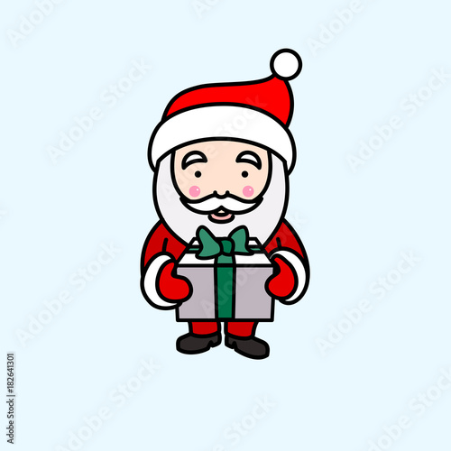 In de dag Retro sign Vector illustration of Santa Claus holding gift