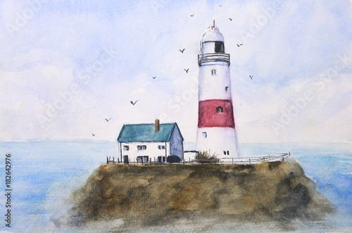watercolor lighthouse sky and sea with birds © atichat