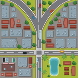 Urban top view cartoon icon vector illustration graphic design - 182646737