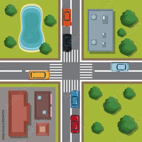Fotobehang Auto Highways top view cartoon icon vector illustration graphic design