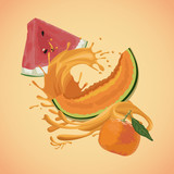 Orange melon and orange splash icon vector illustration graphic design - 182646931