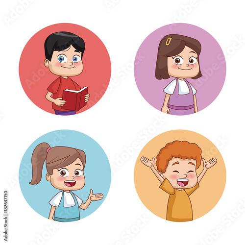 Staande foto Kinderkamer Students kids round icons icon vector illustration graphic design