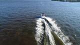 Aerial View of Pleasure Fishing Speed Boat Delaware River Philadelphia - 182653970