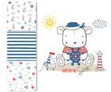 Sailor bear. Surface design and 3 seamless patterns