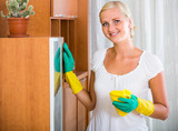 housewife doing regular clean-up - 182654512