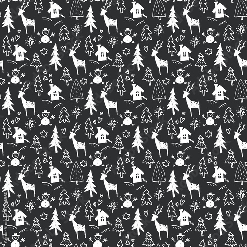 Hand drawn Christmas seamless pattern on smoky black background in vector