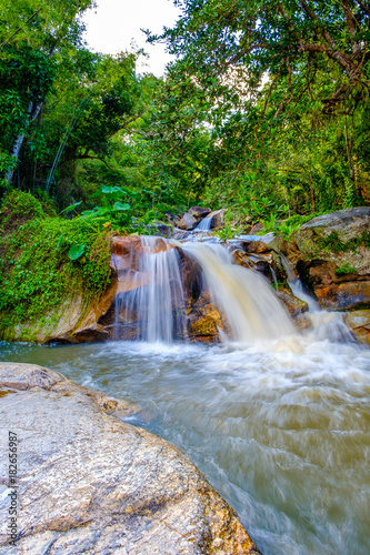 Water fall scenery wildlife at Nam Tok Kao Jones, Suan Phueng, Ratchaburi, Thailand - 182656987