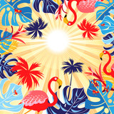 Tropical background with leaves and flamingo - 182657128