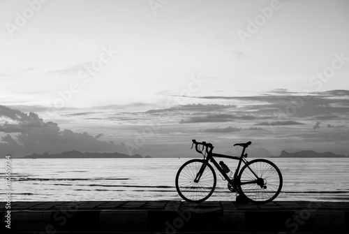 Fotobehang Strand Silhouette bicycle on the beach sunset background,black and white tone