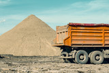 Back of truck and pile of sand 3 - 182660946