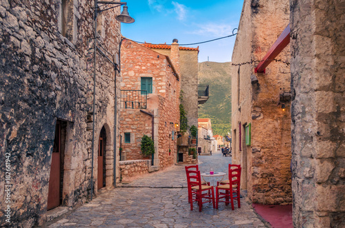 Areopoli Laconia - The traditional village of Mani with the picturesque alleys and the stone built tower houses.Peloponnese