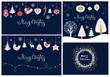 Elegant winter greeting cards with trees, wreath and Christmas toys
