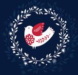 Illustration with bird ihto the wreath