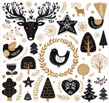 Black and gold illustration with decorative elements in Scandinavian style